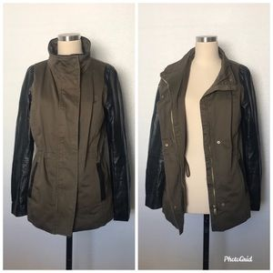 🌟H&M olive green with leather faux sleeves jacket